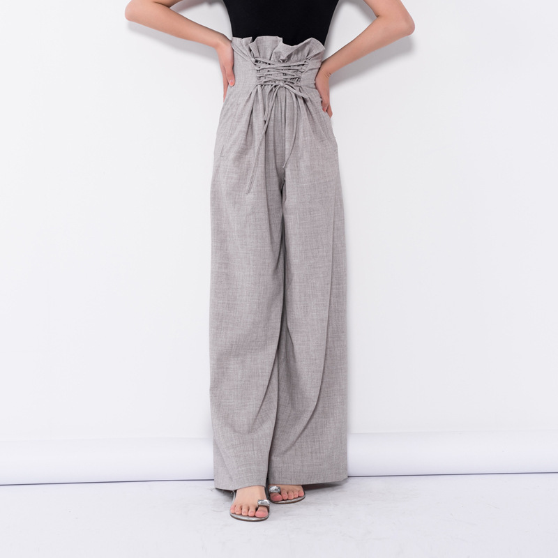 LANMREM 2019 Spring New Fashion Casual Loose Flat Wide Leg Pants Zipper Fly Full Length Black Women Pants N580