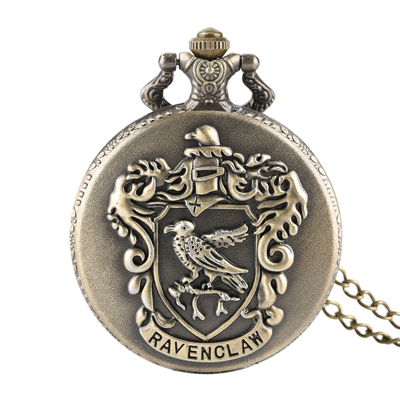 Classic Retro Ravenclaw Designer Quartz Pocket Watch Hary Potter Necklace Chain For Men Women Xmas Gifts Relojes De Bolsillo