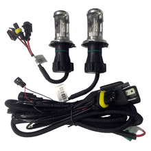 цена на 1set Car HID Xenon Bulb H4 H13 9004 9007 with Wire harenss for Xenon lamp HID Relay Harness wiring kit motorcycle 12V 35W/55W