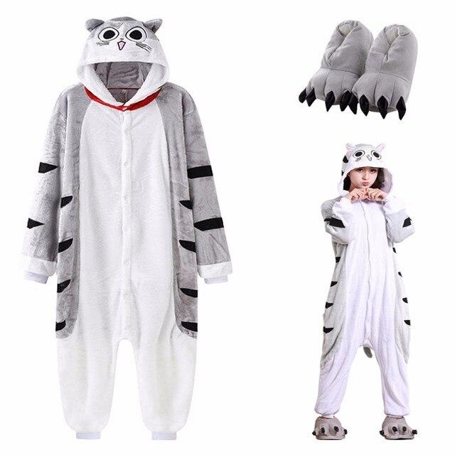 Animal Chi Cat Onesie For Adult Kigurumi Pajamas Halloween Kitty Cosplay Costume Men Women Flannel Warm One-Piece Cartoon Pyjama