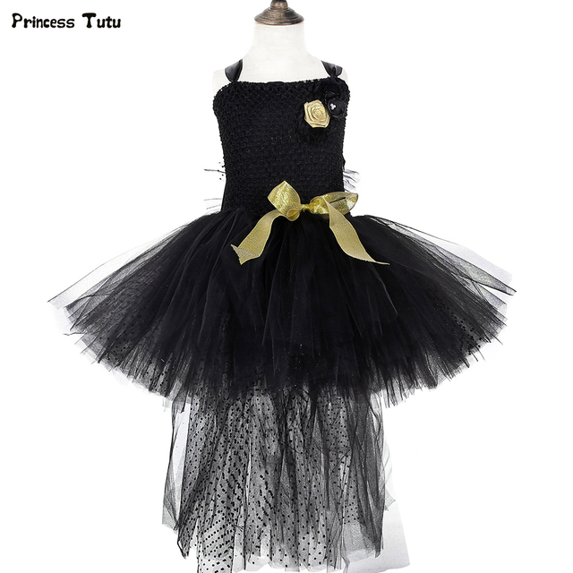 Black Girls Tutu Dress with Train Gold Flowers Tulle Girls Wedding Evening Party Dress Kids Halloween Costumes Girls Gowns 1-14Y