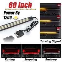 60 Universal Triple LED Aluminum Strip Tailgate Bar Red Driving Light Sequential Amber Turn Signal White Light Rigid Brake Rear