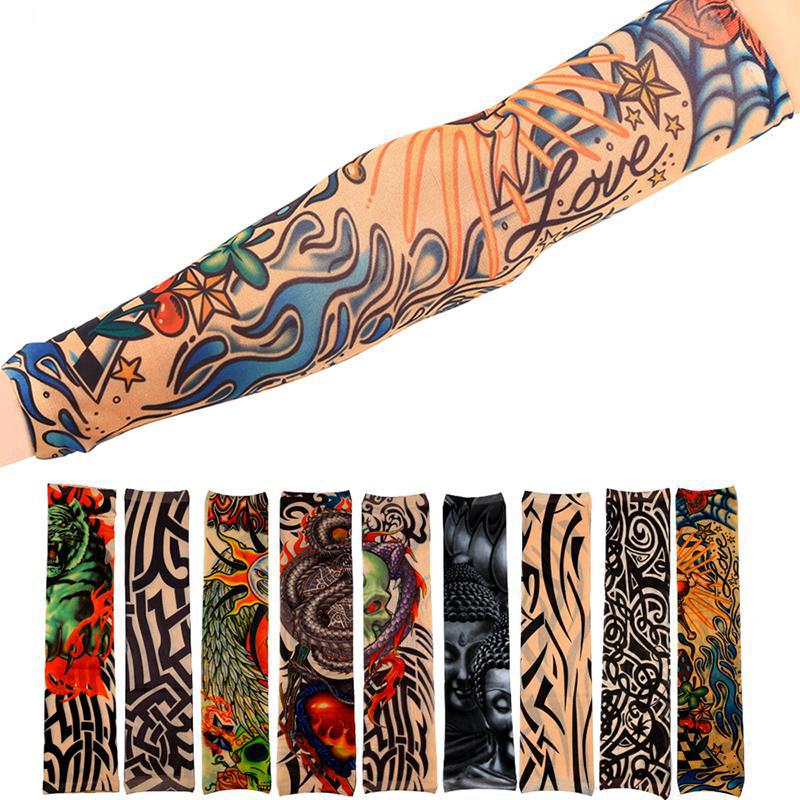 Quick Dry Tattoo Sleeve Sunscreen Cycling Running Comfortable Cool Long Arm Warmers Art Tatto Designs Nylon Elastic Temporary