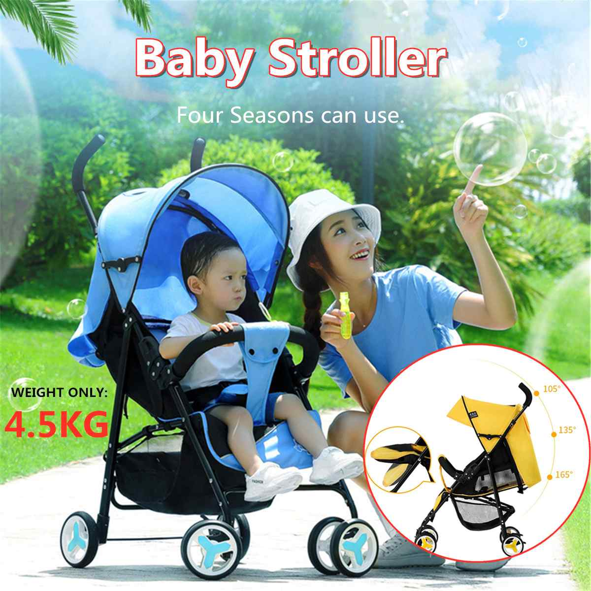 Foldable Lightweight Baby Stroller Four Wheels Kids Baby Strollers for 0-36 Mouths Toddler Carry 4.5kg Steel Pipe WheelsFoldable Lightweight Baby Stroller Four Wheels Kids Baby Strollers for 0-36 Mouths Toddler Carry 4.5kg Steel Pipe Wheels