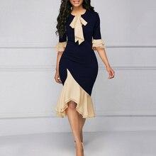 aeeaeb1f6ca Femmes d affaires robe élégante Falbala demi manches queue de poisson à  volants bureau travail porter OL dame robe Cocktail part.