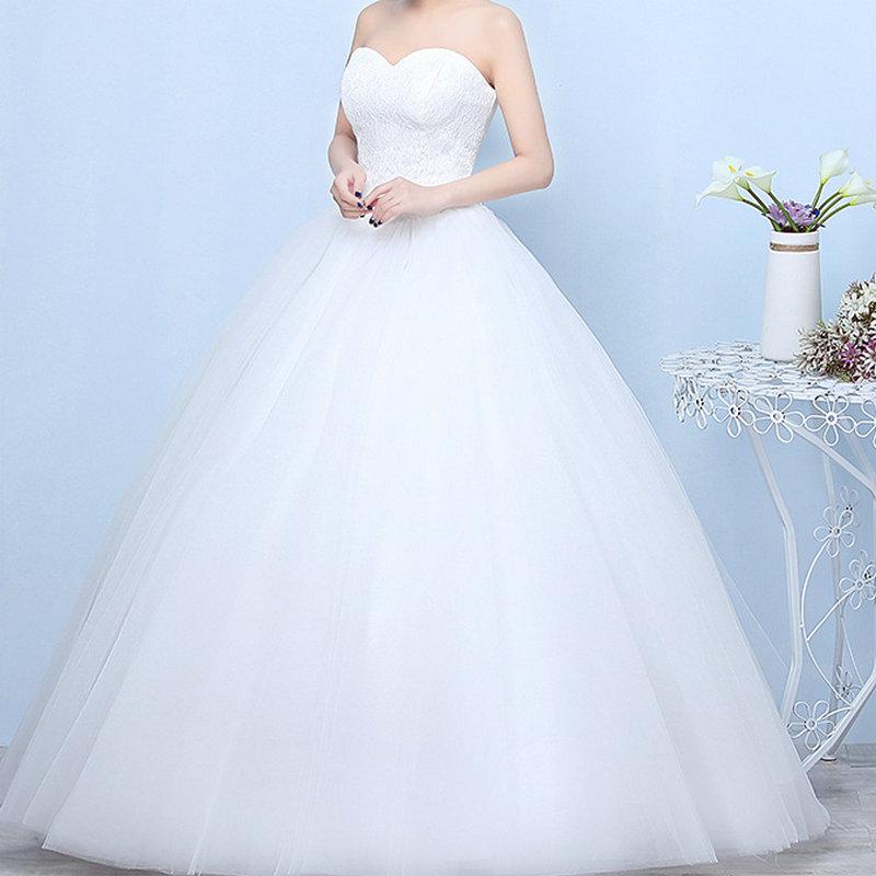 Wedding Dresses 2019 Robe De Mariage Princess Luxury Lace White Ball Gown Wedding Gowns Vestido De Noiva Bridal Dress Lace Back