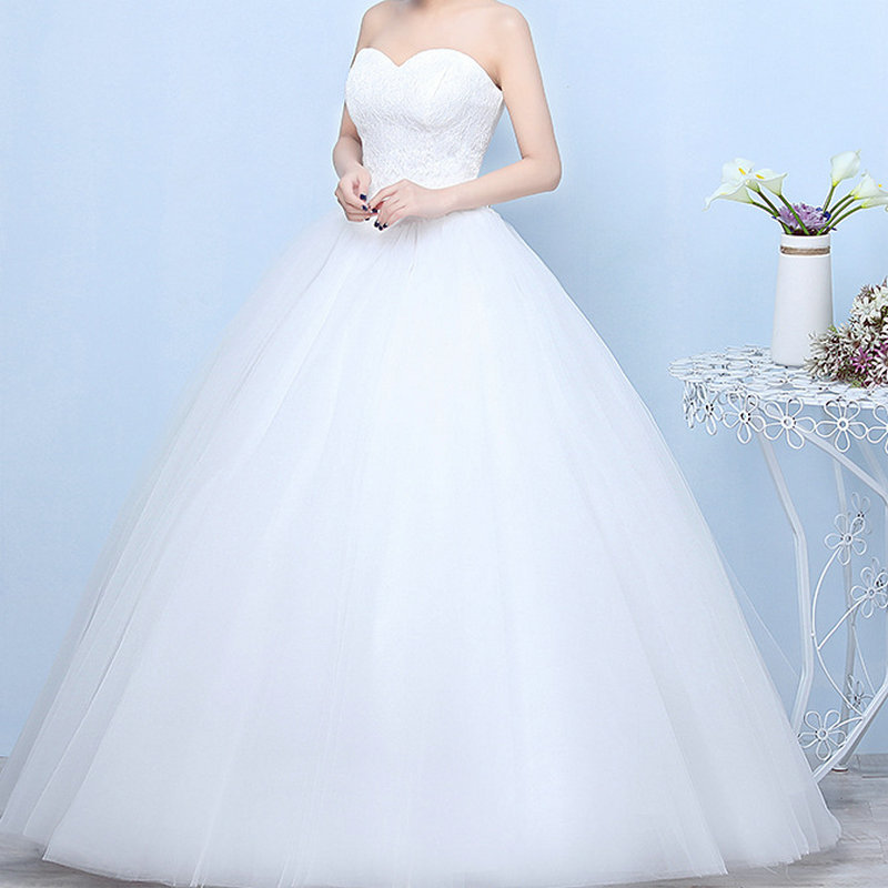 Wedding Dresses 2020 Robe De Mariage Princess Luxury Lace White Ball Gown Wedding Gowns Vestido De Noiva Bridal Dress Lace Back