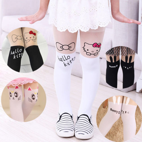 Lovely Baby Girl Toddler Cotton Animal Tights Hosiery  Animal Print Hello Kitty  Pantyhose Stockings Trousers