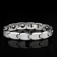 2019 Classic 8m/10mm Width High Polished Tungsten Carbide Chain Bracelet with Black Magnet Stones for Man Woman Length 18.5/21cm