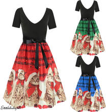 2018 Christmas New Women XMAS Dress Musical Notes Cats Flare Evening Party Dresses(China)