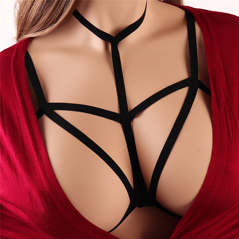 Sexy Bandage Bra Women Fashion Ladies Halter Star Hollow Strappy Bralette Bustier Underwear Camis Crop Tops Black Belt