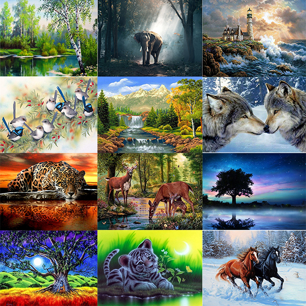 Diamond Embroidery Rhinestones-Pictures Cross-Stitch Mosaic Animal Full-Square Scenery-Series