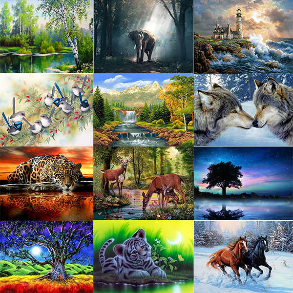 5D DIY Diamond Painting Scenery Series  Full Square Diamond Embroidery Animal Cross Stitch Rhinestones Pictures Mosaic Decoratio