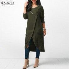 ZANZEA Irregular Hem Slim Fit Sweatshirt Top Long Sleeve Square Collar Pockets Zipper Solid Blouse Casual Simple Vintage Vestido