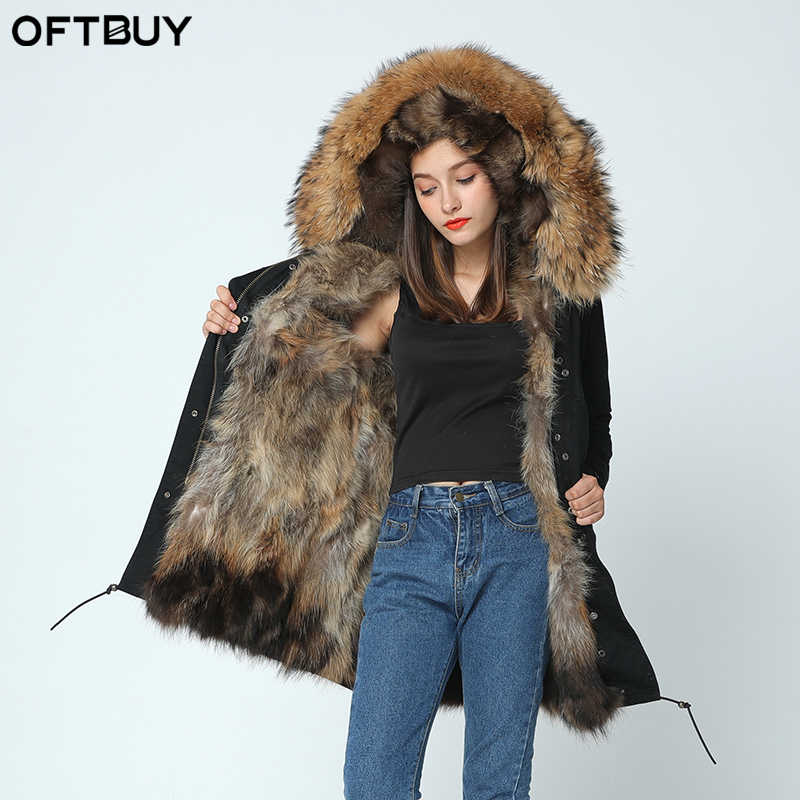 OFTBUY 2019 Длинные зимняя куртка для женщин верхняя одежда плотные парки  енота природный натуральный мех пальто 595fbb031c26e