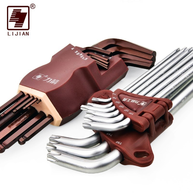 LIJIAN S2 9PCS L Type Double End Allen Hex Key Metric British Hexagon Wrench Set Ball Head Alex Spanner Hexagonal Hand Tool