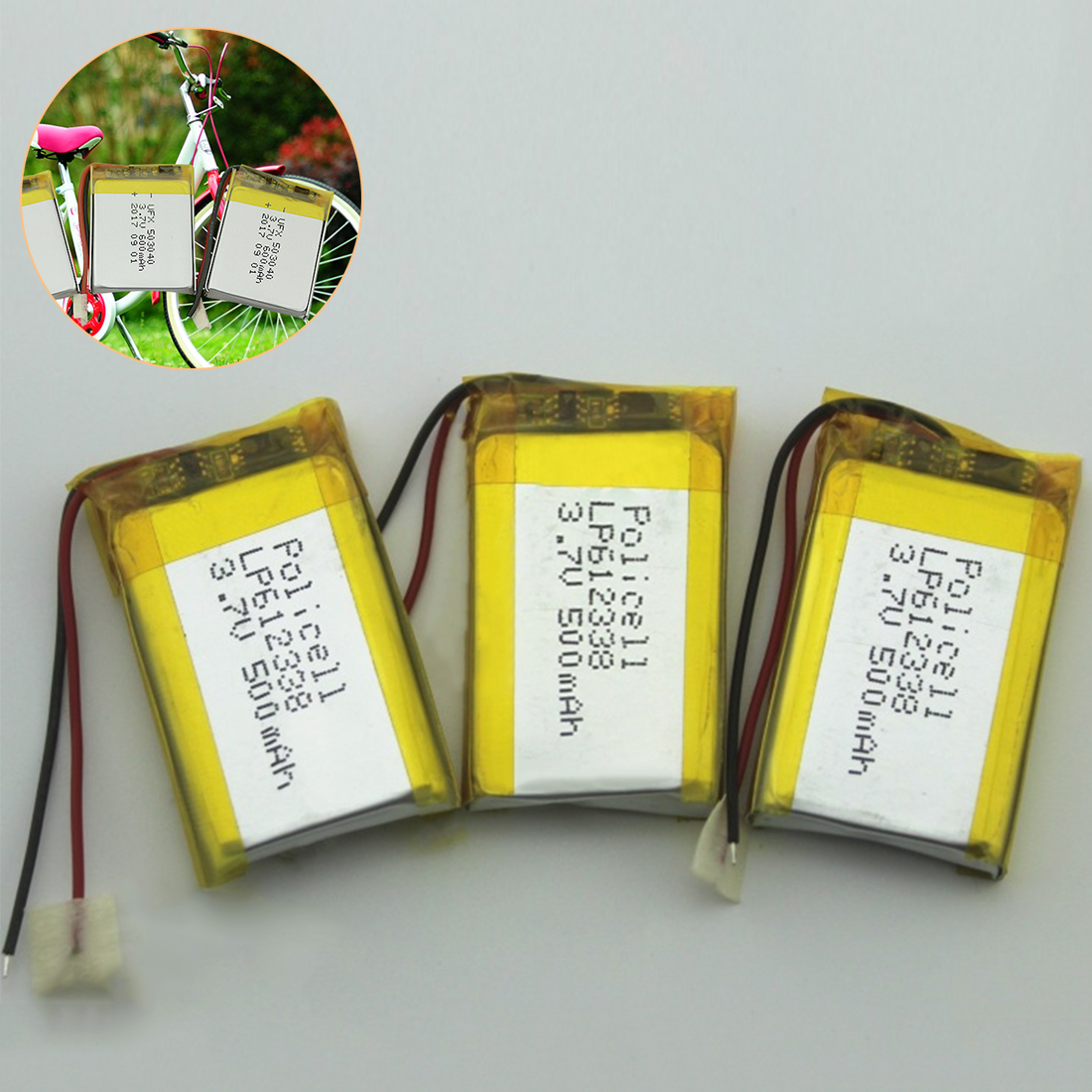Rechargeable 3.7V 500mAh <font><b>612338</b></font> Lithium Polymer Li-Po Li ion Battery Lipo Cells for DVR GPS MP3 MP4 Cell Phone Speaker image