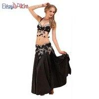 E&A 3pcs Women Beblly Dance Bra Belt Set Bellydance Skirt Fashion Top Waist Chain Female Long Dress Indian Dancewear Performance