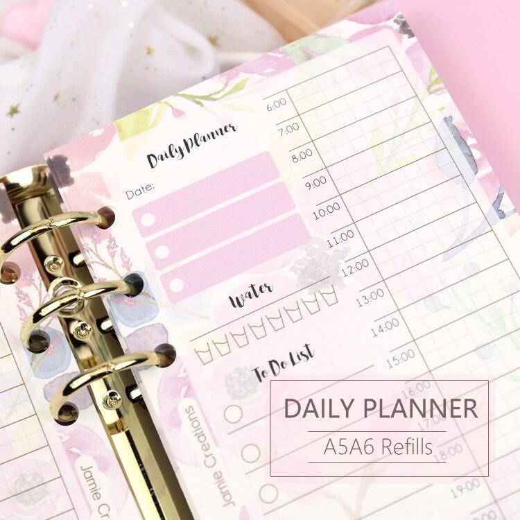 MyPretties 40 Folhas Floral Planejador Diário Recarga Papéis A5 A6 Filler Papers para 6 Buraco Fichário Notebook Organizador Papéis