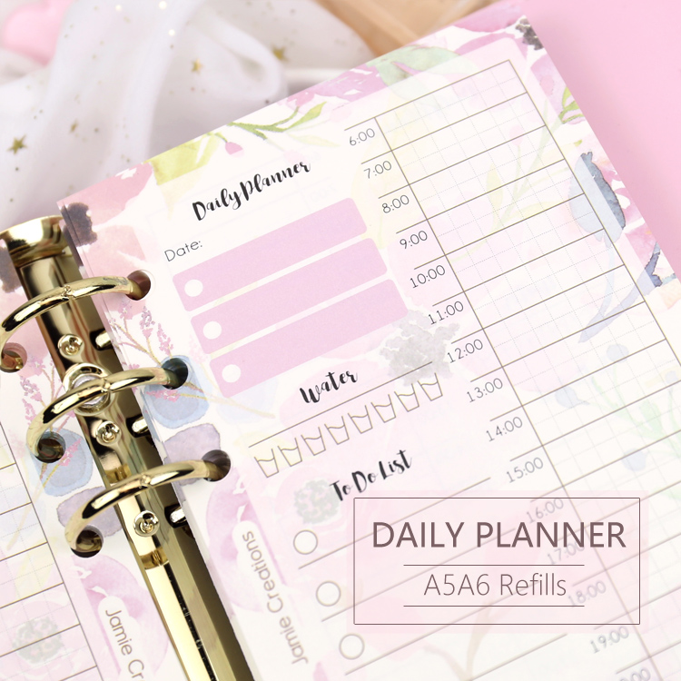 MyPretties 40 Sheets Floral Daily Planner Refill Papers A5 A6 Filler Papers For 6 Hole Binder Organizer Notebook Papers