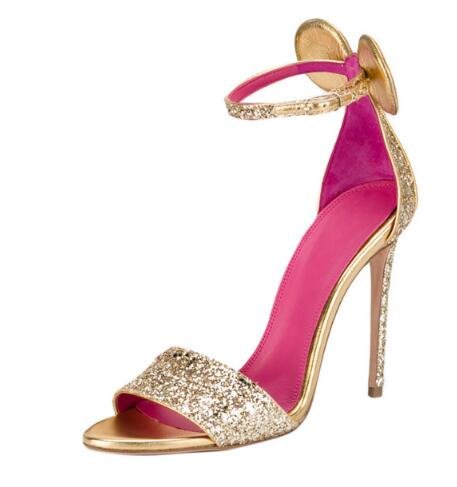 Glitter Sandals Sexy Butterfly knot Stiletto Wedding Sandals Gold Thin Heel Gladiator Pumps Ears Heels