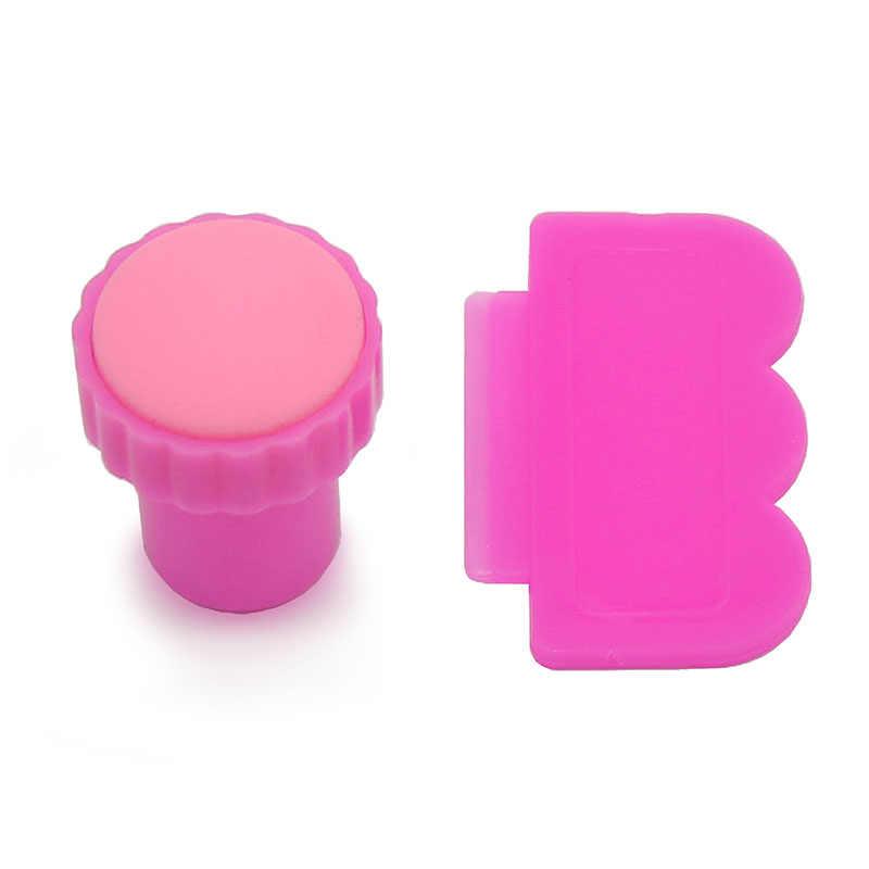 Nail Art Decoratie Afbeelding Stempel Roze Stempelplaten Manicure Tool Template Voor DIY 1 Stamper + 1 Schraper