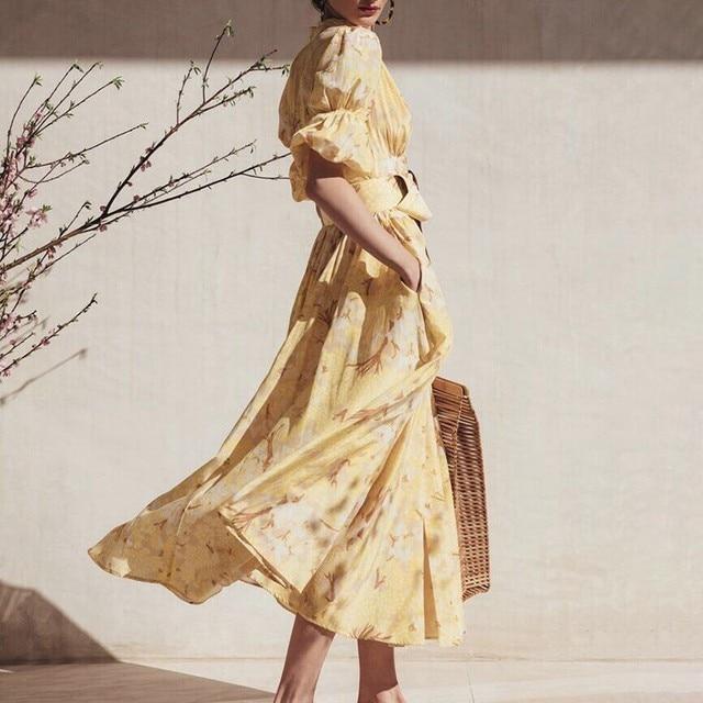TWOTWINSTYLE Spring Casual Print Women Dress V Neck Puff Sleeve High Waist Midi Dress Female Fashion 2019 New Clothing Tide 2