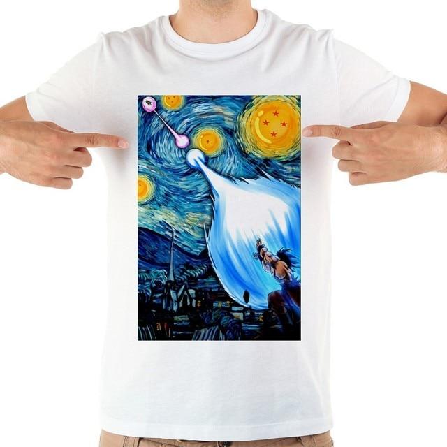 Забавная футболка dragon ball z Saiyan in the starry night, мужская летняя Новинка 2019 года, Повседневная крутая футболка с короткими рукавами с изображением Ван Гоку Гога, homme