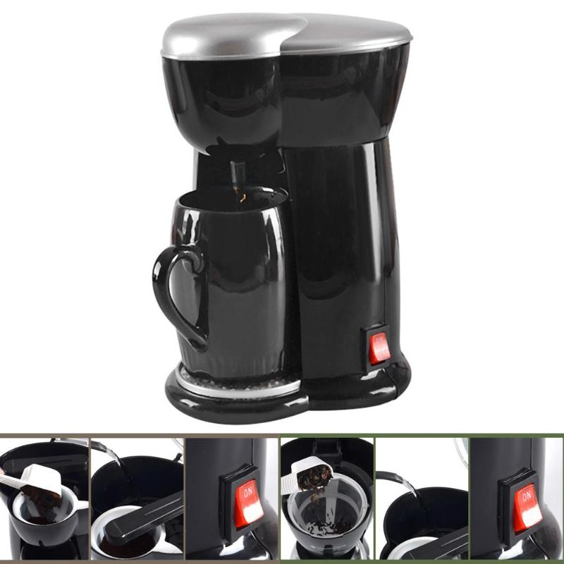 Automatic:  300W Mini Single Cup Drip Coffee Makers Coffee Pot Electric Automatic Espresso Machine EU Plug Kitchen Tools Coffeeware - Martin's & Co