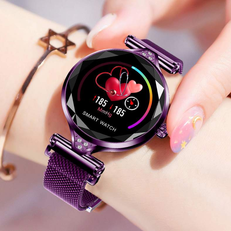 H1 Women Smart Watch Female Intelligent Predict Menstrual Cycle 1 04inch One key Measure Fashion Steel Gold Purple Smartwatch in Smart Watches from Consumer Electronics