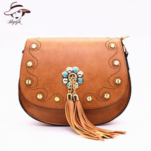 New Fashion Women Bag Rivet PU Leather Handbag Tassel Girls Shoulder Crossbody Bags Ladies Clutch Small Purse Messenger Tote bag