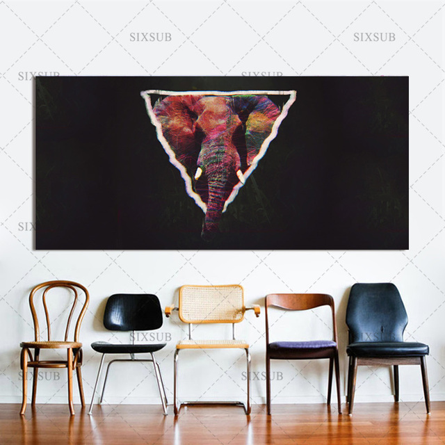Us 7 58 Abstract Elephant Glitch Art Jungle Triangle Wall Art Canvas Poster Print Canvas Painting Decorative Picture Decoration In Painting