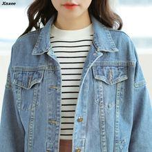 Women Basic Coats Autumn And Winter Women Denim Jacket 2018 Vintage Long Sleeve Loose Female Jeans Coat Casual Girls Outwear цена и фото