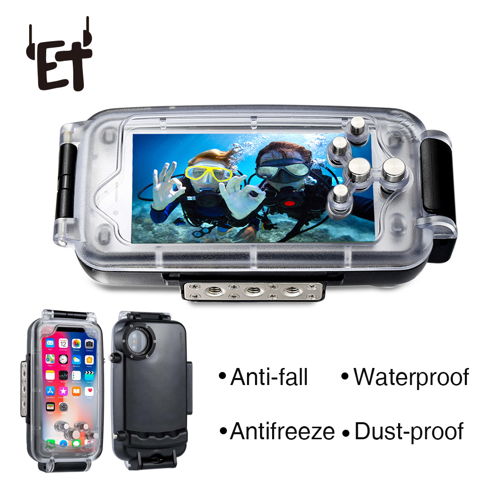 ET Diving Phone Housing for IPhone 7/8 7/8Plus X 40m/130ft Professional Waterproof Underwater Protective Cover Case for IPhone