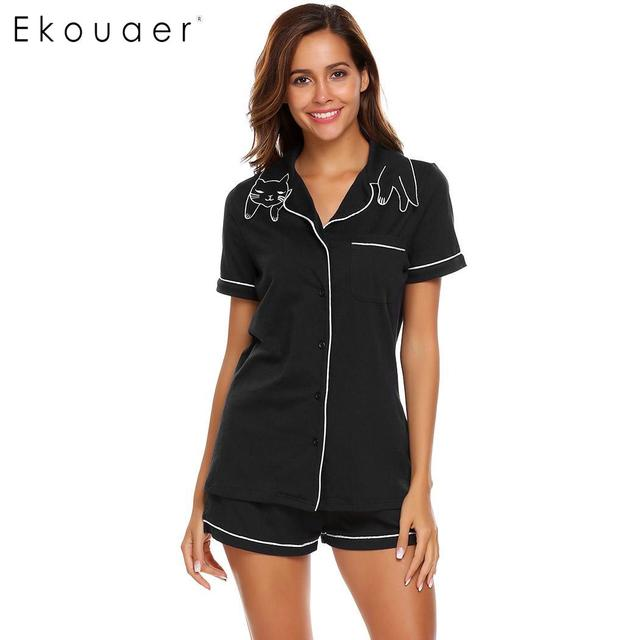 Ekouaer Women High Quality Pajamas Sets Nighties Turn down Collar Short Sleeve Elastic Waist Pocket Shorts Soft Pajama Set