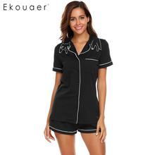 Ekouaer femmes haute qualité pyjamas ensembles nuisettes col rabattu manches courtes taille élastique poche Shorts doux pyjama ensemble
