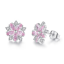 Silikolove 1pair Fashion Micro-inlaid Sweet Temperament Small Cherry Stud Earrings Cute Pink Flower-shaped Pendientes