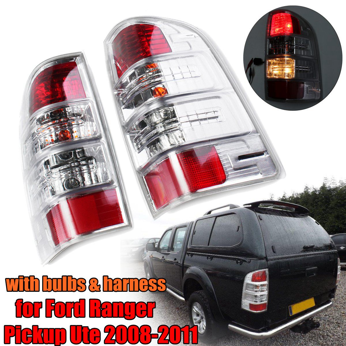 Taillight LED Taillight Left/Right Rear Car Styling Head Lamp Tail Light Lamp w/Bulb Harness for Ford Ranger Pickup Ute 2008-11 1 pc outer rear tail light lamp taillamp taillight rh right side gr1a 51 170 for mazda 6 2005 2010 gg
