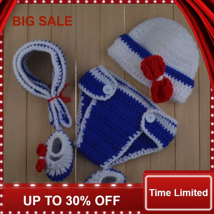 New Arrival Crochet Baby Newborn Photo Props Knitted Infant Photography Costume hat 1set