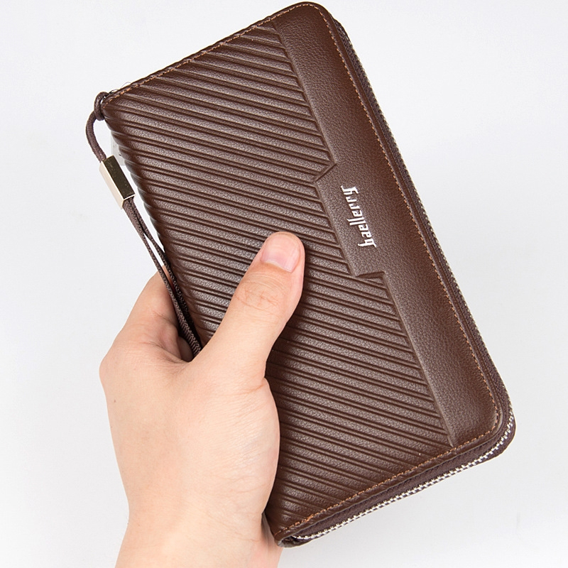 Hot Multi Function Men 39 s Wallet Long Clutch Bag Europe And America Striped Zipper Handbag in Wallets from Luggage amp Bags