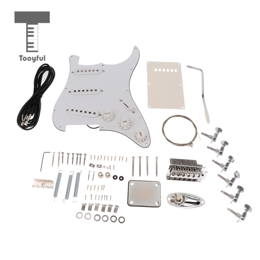 1 Set ST Electric Guitar Kit Accessories Parts for Guitar Luthier DIY musiclily 3ply pvc outline pickguard for fenderstrat st guitar custom