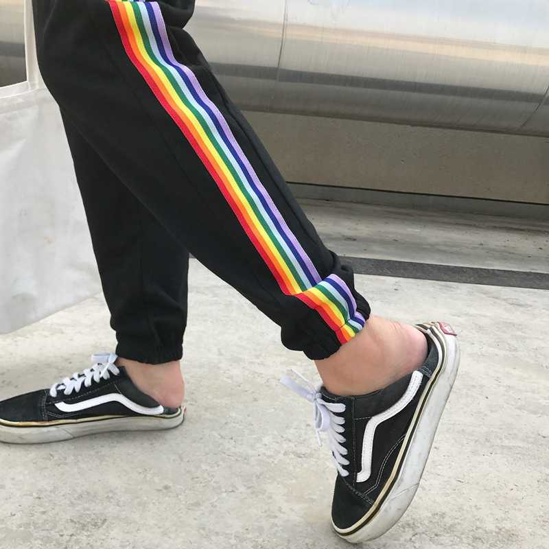 Korean Ulzzang Harem Pants Rainbow Striped Casual Pant Teenager College Students Aesthetic Harajuku Style Street Style Pants