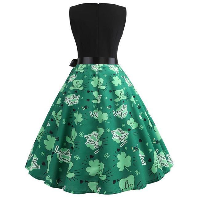192ea8fcbf9bc74 Women Dress Vintage Sleeveless Belt Green Clover Printed V Neck Dress Mini  Retro Vintage Clothes For
