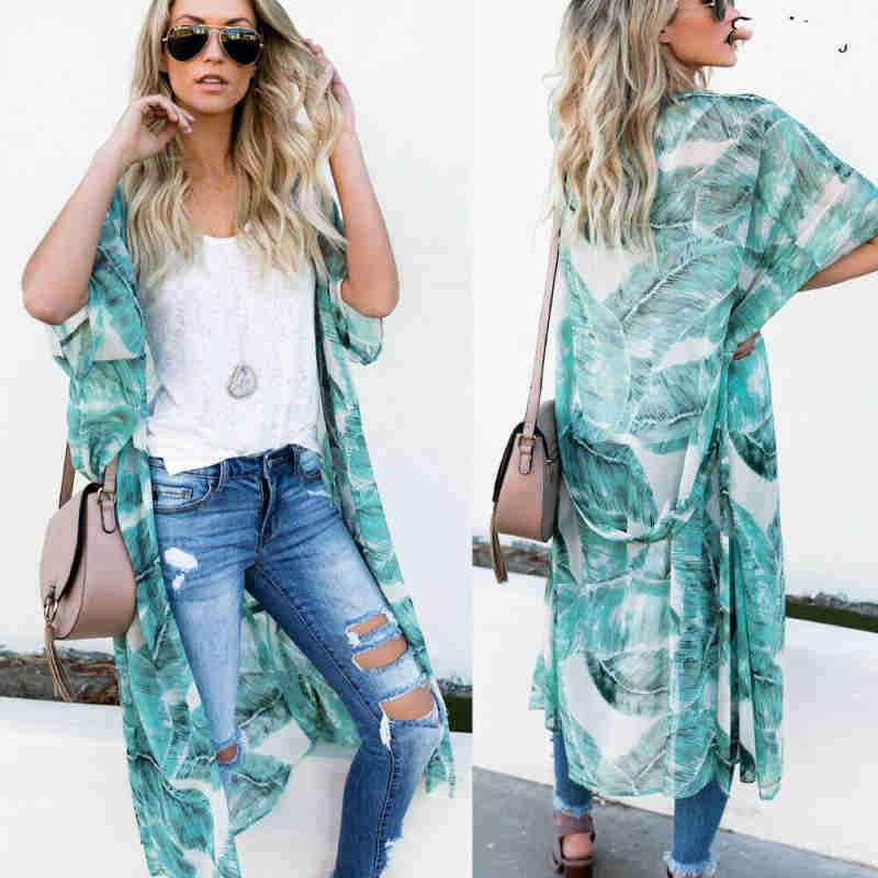 Plus Size Women Floral Kimono Cardigan Long Summer Hot Female Flower Print Sleeve Casual Jacket Cover Up Tops