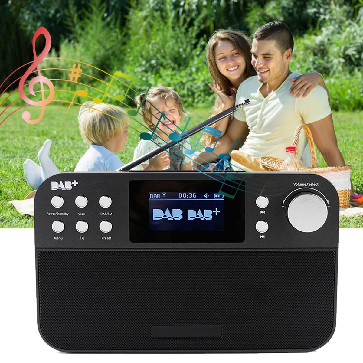 Portable Numérique mini radio Récepteur TFT bluetooth radio-réveil Sommeil Minuterie enceinte de musique Soutien RDS FM DAB DAB + MP3 USB