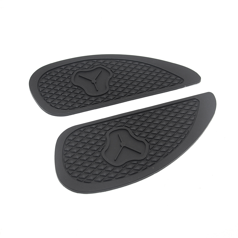 2019 Mode Black Motorcycle Rubber Vintage Gas Tank Knie Pads Side Panel Tractie Pad Sticker Voor Harley Cafe Racer Classic Universal