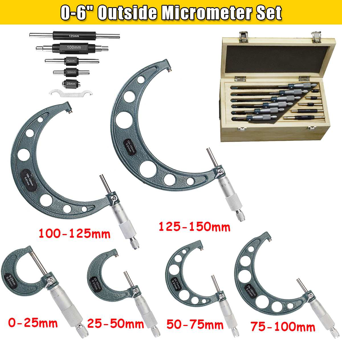 "Pro Outside Micrometer 0.0004"" Precision 0-150MMMic Set Machinist Tool Carbide Tip Micrometre Gauge Caliper With Case"