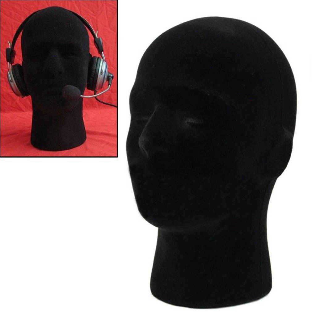 Brand New 2019 Male Black Polystyrene Styrofoam Foam Head Model Stand Wig Hair Hat Headset Mannequin Head Display Stand Rack