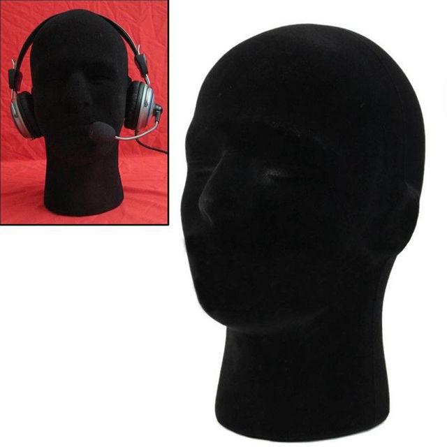 Marca Novo 2019 Masculino Preto Espuma De Poliestireno Styrofoam Cabeça Stand Modelo Peruca Manequim Cabeça Cabelo Chapéu de fone de Ouvido de Rack Carrinho de Exposição