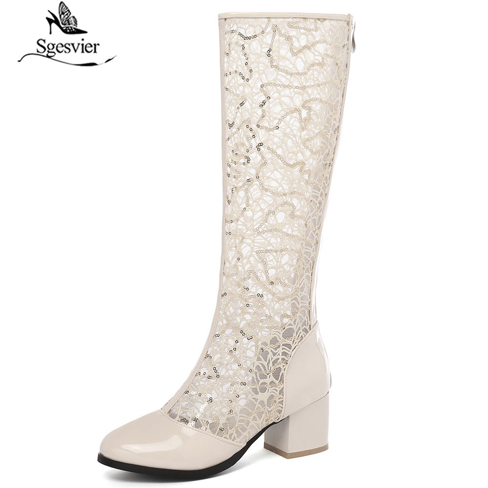 Sgesvier Summer 2019 Blue White Glitter Bling Lace Mesh Knee High Riding Boots Sandal High Block Heels Womens Shoes G452Sgesvier Summer 2019 Blue White Glitter Bling Lace Mesh Knee High Riding Boots Sandal High Block Heels Womens Shoes G452
